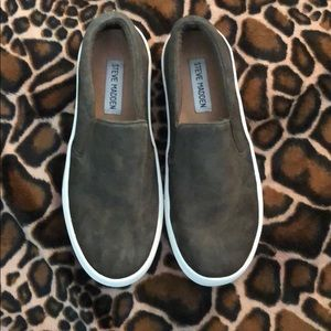 Steve Madden Green Platform Slip On Shoes